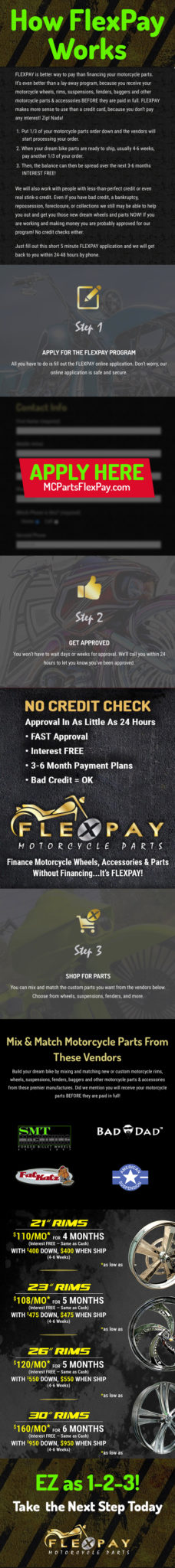 how flexpay works, a better way to pay for motorcycle parts than traditional financing options